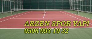 Tenis Kortu sahası yapımı: Çelik konstrüksiyon kısmı ardından, tel, ve akrilik boya zemin uygulaması yapılır. Tenis Kortu yapım firmaları Tenis Kortu sahası maliyeti, Tenis Kortu yapan firmalar